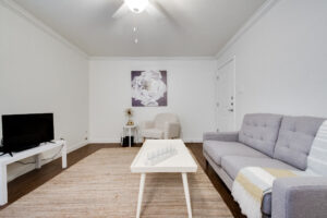 Interior view of a living room with a white couch, white coffee table, tv, white chair, and grey and white painting