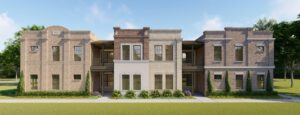 Exterior rendering of townhomes with red, grey, and white bricks with green shrubs in front and various open-air balconies