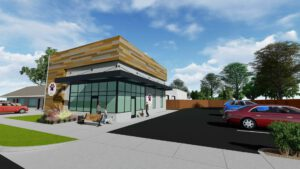 A exterior rendering of a new building with wooden siding, a bench outside, and a parking lot with cars
